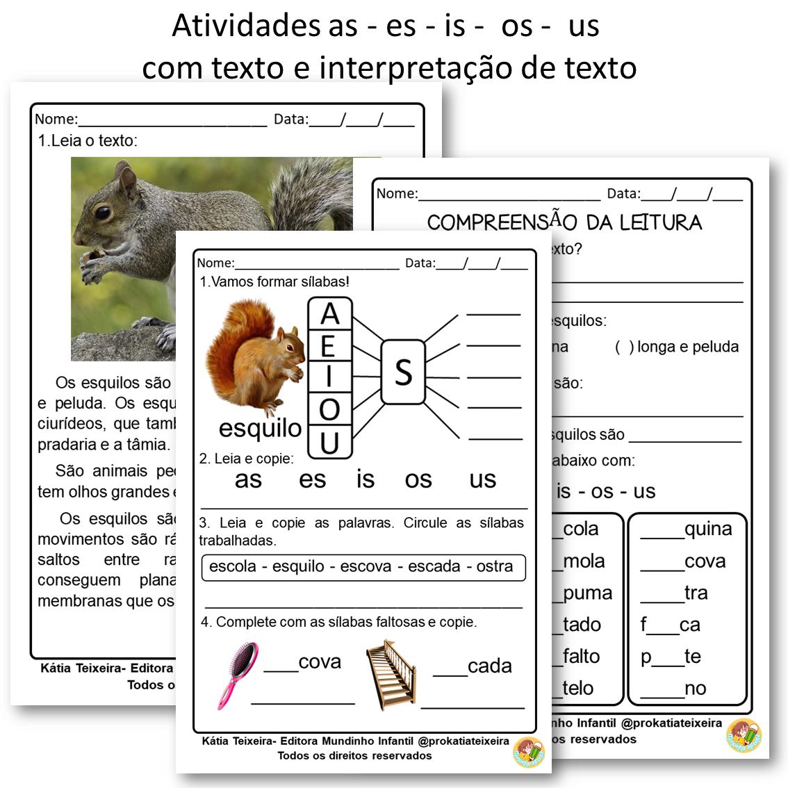 Atividade AS  ES  IS  OS  US com texto e interpretação
