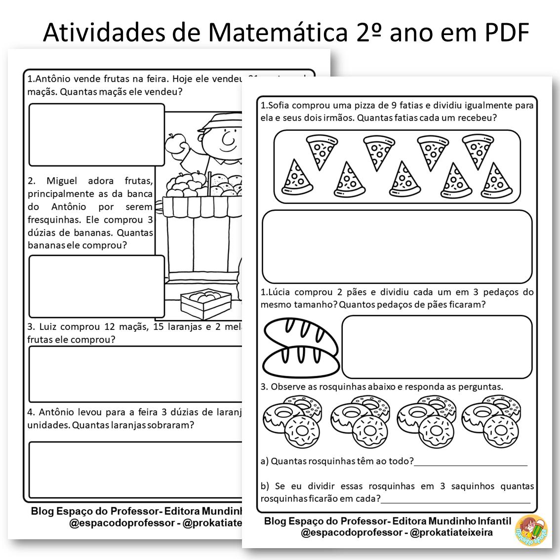 Atividade de matemática PDF 2º ano probleminhas