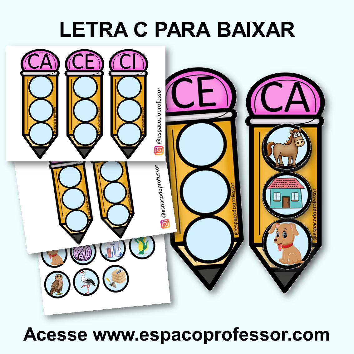 Jogo de Alfabetização sílabas letra C para imprimir