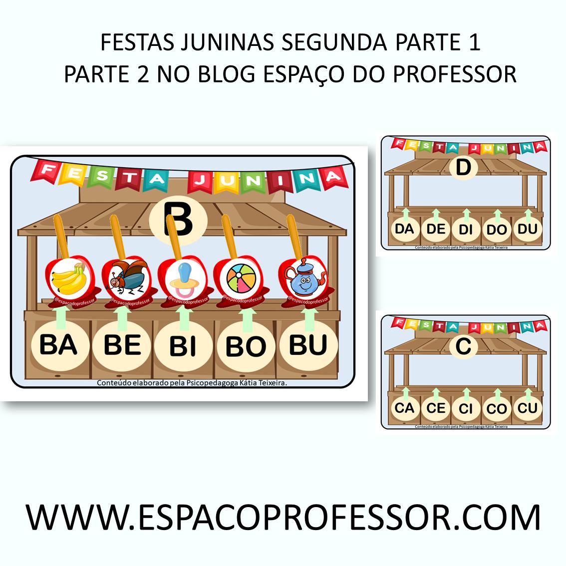 Jogo de alfabetização sílabas festas juninas parte 1