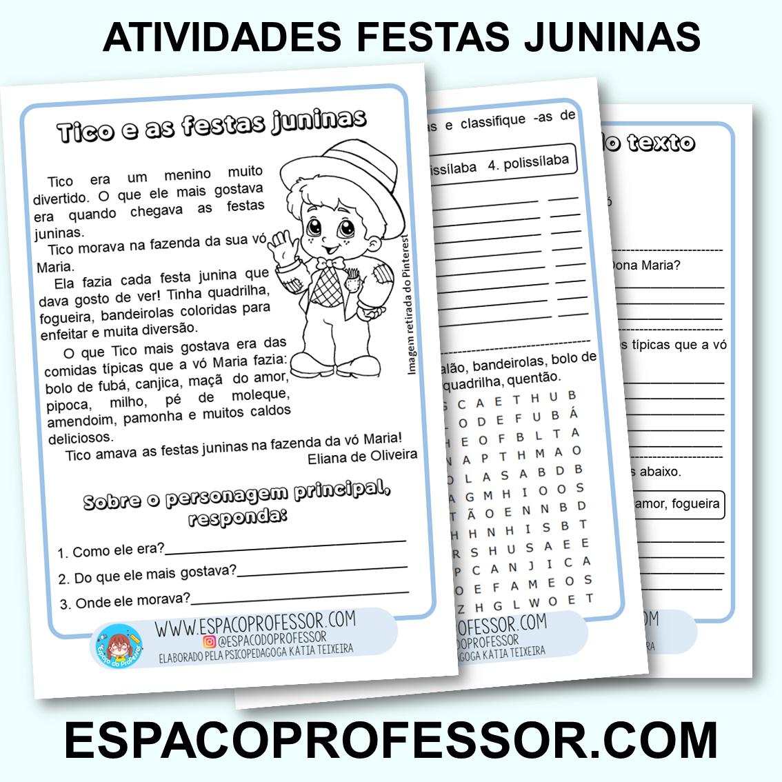 Atividades de Português Interpretação Festas Juninas PDF