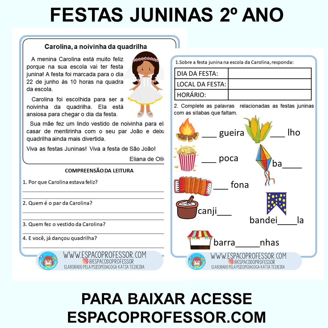 Atividades texto com interpretação festas juninas 2º ano PDF
