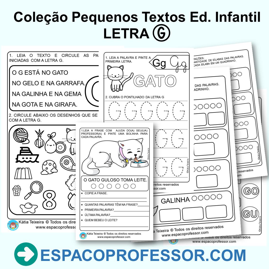 Pequeno texto com atividades Educação Infantil letra G PDF