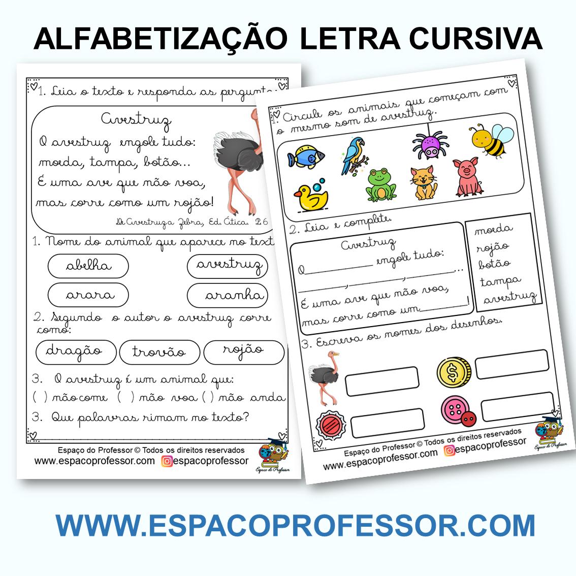 Atividades de Alfabetização 2º ano letra cursiva PDF