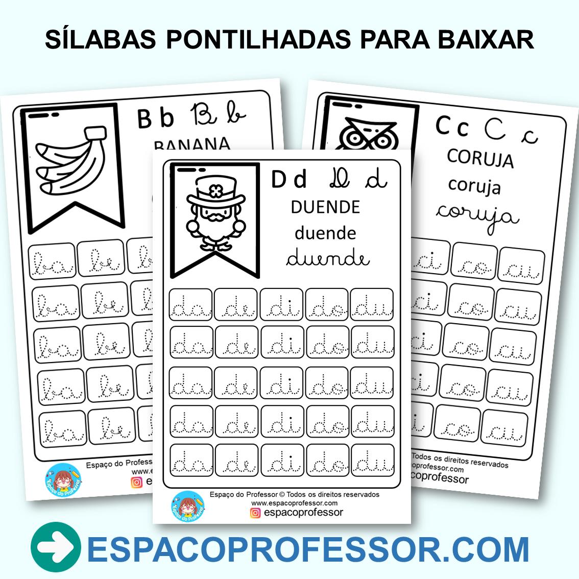 Atividades de alfabetização sílabas pontilhadas para imprimir