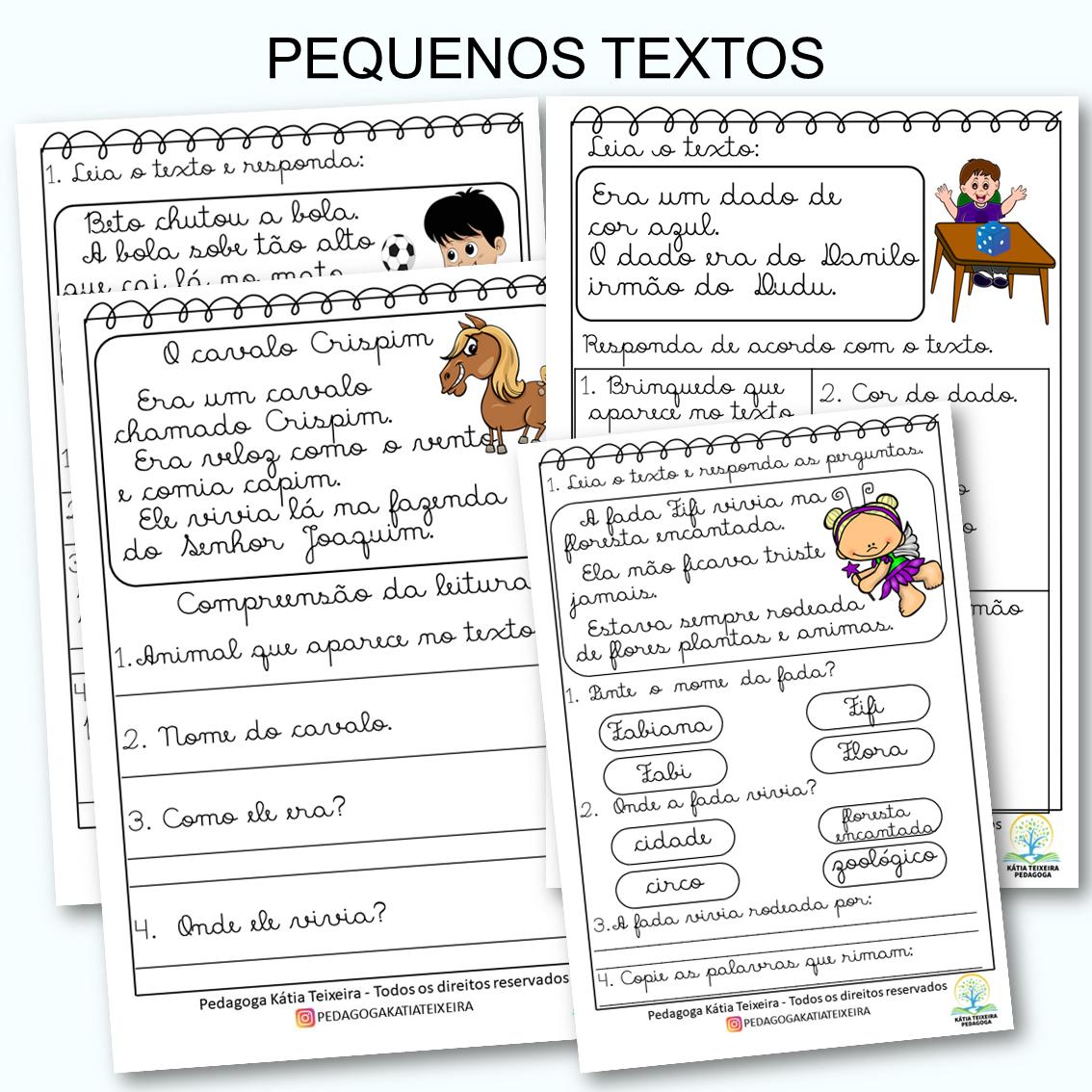 04 Pequenos Textos letra cursiva com atividades